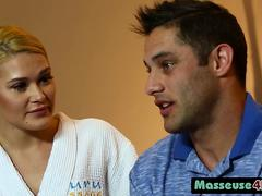 Abby Cross Blonde Masseuse Bathroom Body Massage