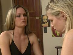 Mature blonde and Scarlet Red have lesbian sex