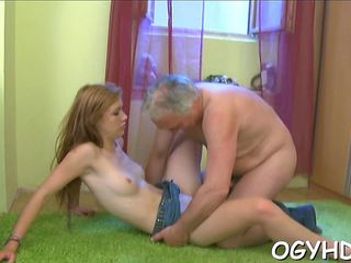 old man with a hard dick fucks a super sweet young lady
