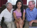 Aaliyah Hadid gave a deep throat blowjob to old cock
