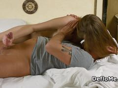 Virgin enjoys first orgasm and jerks cock