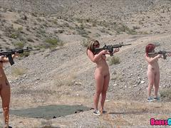 Army Bitches gang up on Him in the desert