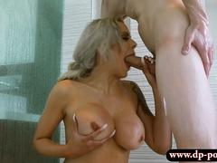 Massive boobs milf nailed by younger dude in shower room