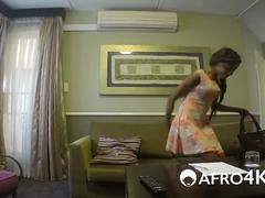 African babe stripping and blowing long cock