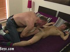 Yummy twink boy handles old meat