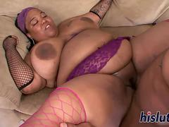 Raunchy ebony BBW pleasures a monster pole