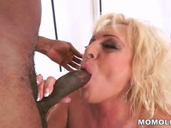 Blonde Granny in an interracial action