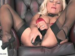 Horny blonde Milf Lana Cox fucks her hungry wet pussy with sexy high heel shoe