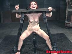 Redhead bdsm sub canned on scarred ass