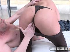 Hot brunette face fucked in public after having an intense foreplay with a stranger