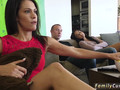 An adorable babe is seducing her horny stepbrother and blow his whistle in front of her stepmom