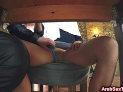 Shy Arab babe with sexy booty bends over and gets fucked
