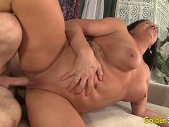 dark haired beauty wants to get that huge prick up inside her wet cunt in different poses