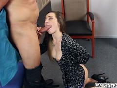 Stunning secretary desires to get a taste of that big fat cock inside her juicy mouth and then to get it between her legs