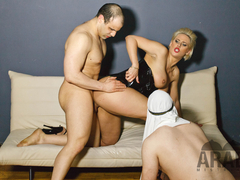 Alyson shows her 2 Arab Slaves the real Arab Heaven, Chastity, Foot worship, eating Cum.
