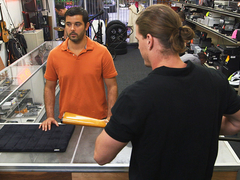 Supposedly straight guy blows two huge dick inside the pawnshop