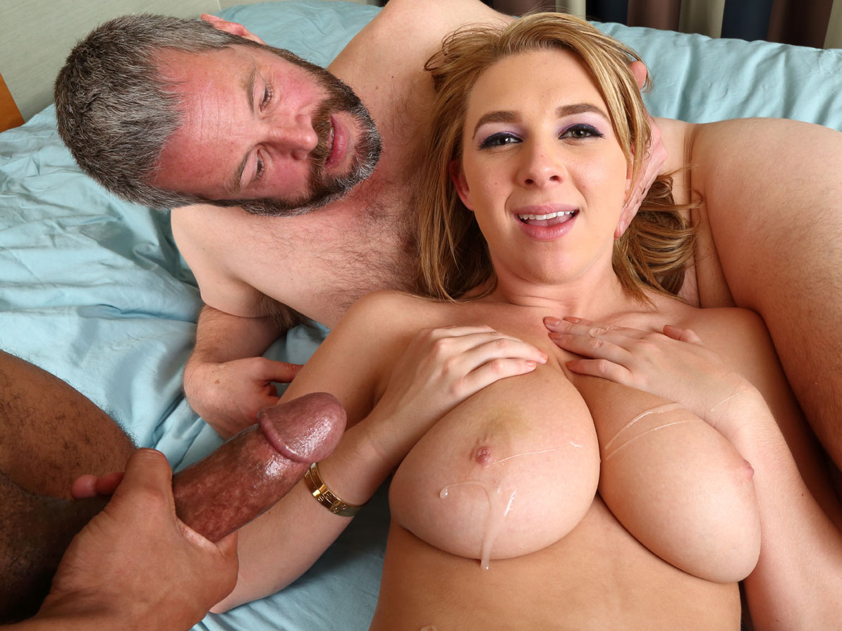 Hubby watches shemale wife take black cock