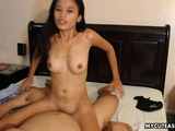 Very cute Asian brunette getting fucked in a hotel