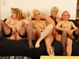 Three matures having an orgy