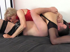 Sissy and crossdresser sluts in nylon panties go crazy for big cock blowjob sixtynine and cum