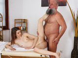 Slender babe is starving for a love making session with this strapping lad in many poses
