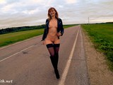 Stockings flashing naked on the road by Jeny Smith