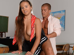 Big titted schoolgirl Olivia Nice and her classmate